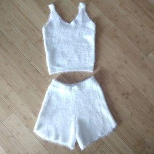 NWOT Matching White Fuzzy tank & shorts